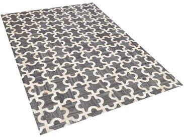 Tapis gris et beige motif puzzle en peau de vache et tissu 140 x 200 cm