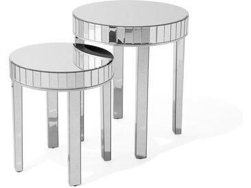 Set de 2 tables d'appoint glamour avec effet miroir