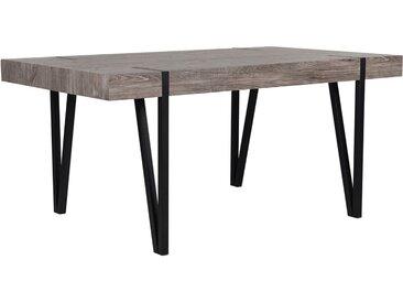 Table de salle à manger effet bois massif - style industriel