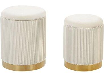 2 poufs coffres de rangement en velours blanc avec bases dorées