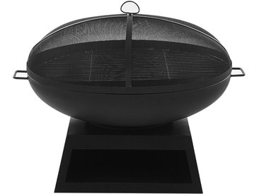 Braséro rond moderne en acier noir avec fonction barbecue