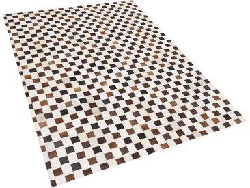Tapis patchwork à carreaux en peau de vache marron et beige 160 x 230 cm
