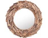 Miroir mural de forme ronde en bois clair