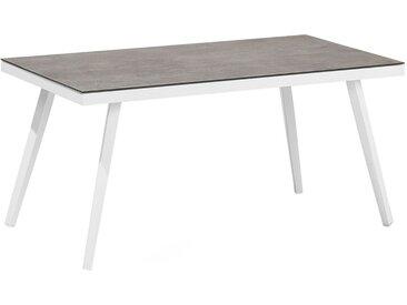 Table basse de jardin en aluminium avec plateau rectangulaire en verre
