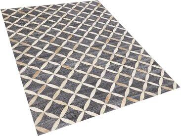 Tapis gris et beige en peau de vache et tissu jacquard 160 x 230 cm