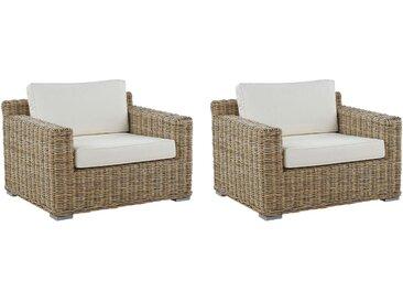 2 fauteuils de jardin au style boho en rotin marron clair