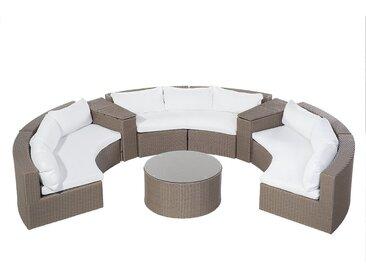 Salon de jardin en polyrotin marron clair et coussins blanc SEVERO
