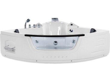 Bain à remous d'angle blanc 230 litres avec éclairage LED et surface vitrée