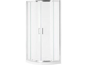 Cabine de douche 1/4 cercle en verre trempé avec porte coulisasante