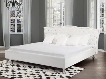 Lit design en cuir 180x200 cm blanc avec rangement METZ