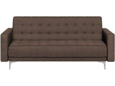 Canapé-lit 3 places moderne en tissu marron