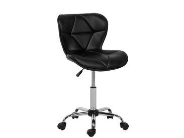 Chaise de bureau en simili-cuir noir VALETTA