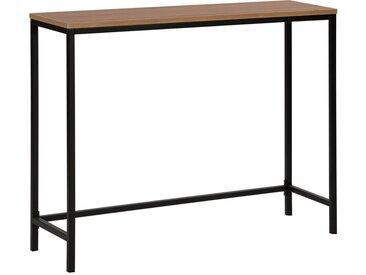 Table console en imitation bois et structure en métal noir