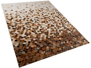 Tapis patchwork en peau de vache aux tons dégradés de marron 160 x 230 cm