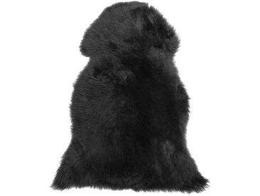 Tapis en peau de mouton authentique noire style rustique