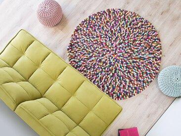 Tapis rond en feutre de laine multicolore