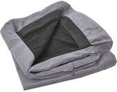 Housse amovible en velours gris pour canapé 3 places