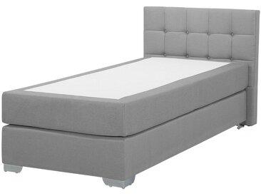 Lit continental simple 90 x 200 cm gris clair avec tête de lit capitonnée