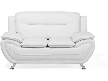 Canapé 2 places ultra confortable en simili cuir blanc
