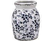 Vase à fleur en céramique blanc avec motif floral bleu