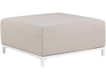 Pouf ottoman pour intérieur et extérieur en tissu anti-UV beige pieds blancs