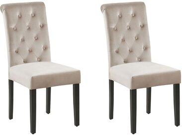 Lot de 2 chaises de salle à manger velours capitonné taupe avec heurtoir