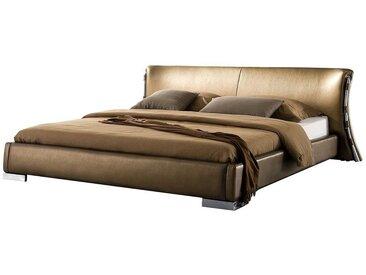 Lit design en cuir double 160x200 cm or PARIS