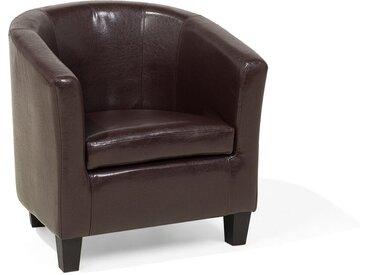 Fauteuil cabriolet au style moderne en simili-cuir marron