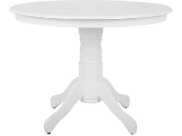 Table de salle à manger blanche au style classique avec pied central en bois