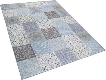 Tapis 160 x 230 cm en tissu patchwork mosaïque multicolore