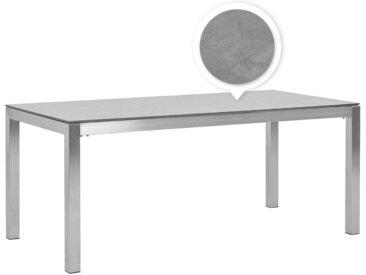 Table de jardin avec plateau effet béton gris et structure en acier