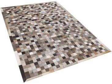 Tapis patchwork à carreaux de peau de vache multicolores 140 x 200 cm