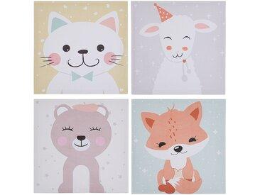 Set de 4 toiles imprimées multicolores pour chambre d'enfant 30 x 30 cm
