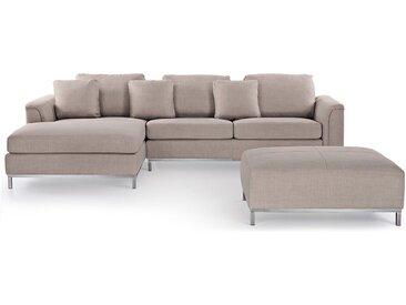 Canapé d'angle en tissu beige R avec un ottoman inclus