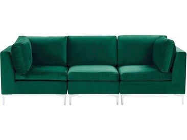 Canapé modulable composé de 3 sièges en velours vert avec pieds argentés