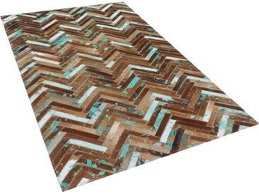 Tapis patchwork marron beige et bleu en cuir 80 x 150 cm AMASYA