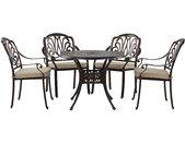 Table ronde de jardin en aluminium marron cuivré avec 4 chaises assorties