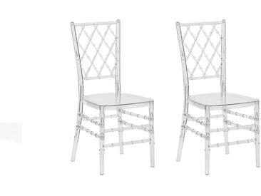 2 chaises de salle à manger en plastique transparent