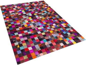 Tapis patchwork en peau multicolore 200 x 300 cm