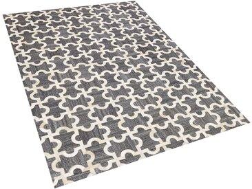 Tapis gris et beige motif puzzle en peau de vache et tissu 160 x 230 cm