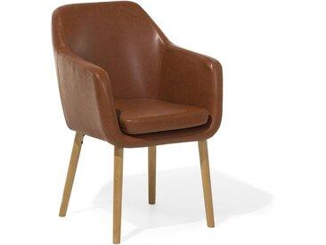 Chaise en simili-cuir vintage marron