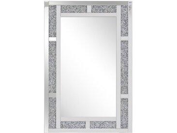 Miroir mural rectangulaire avec cadre décoratif argenté effet cristaux