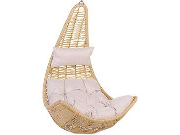 Fauteuil oeuf suspendu beige en rotin avec coussin d'assise assorti