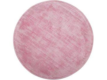 Tapis rond en viscose rose 140 cm de diamètre