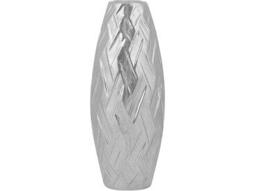 Vase décoratif haut argenté pour décoration végétale séchée
