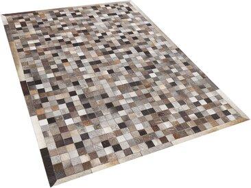 Tapis patchwork à carreaux de peau de vache multicolores 160 x 230 cm