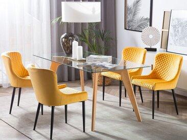 Lot de 2 chaises modernes en velours jaune