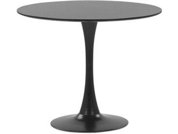Table de cuisine noire avec plateau rond 90 cm