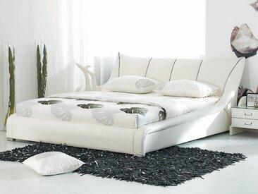 Lit à eau lit en cuir 180x200 cm blanc NANTES