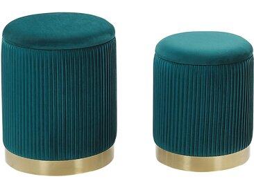 2 poufs coffres de rangement en velours bleu paon avec bases dorées